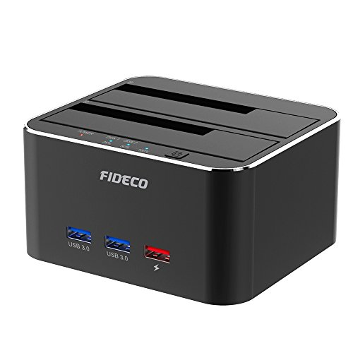 USB 3.0 Externe Festplatten Dockingstation mit 3 Port, FIDECO Aluminium Dual Bay HDD Docking Station für HDD/SSD/SSHD or 2.5 und 3.5 Zoll SATA III Offline Klon[Unterstützt 2 x 10 TB (Schwarz)]