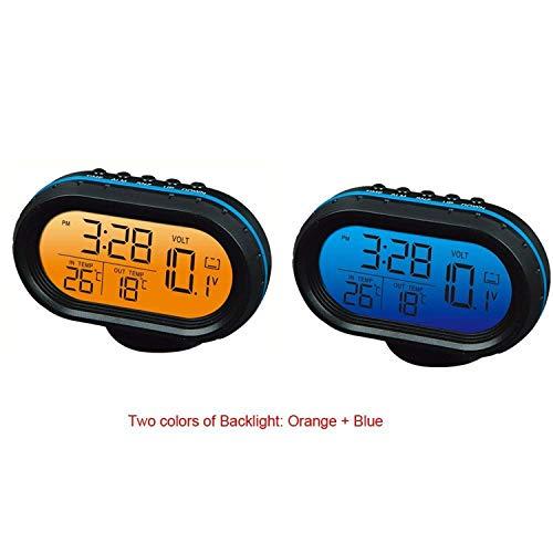 Yosoo Digitales Kfz-Kombigerät mit Thermometer, Batteriespannungsanzeige und Uhr, 12V, Alarmfunktion, LCD-Anzeige, Blau