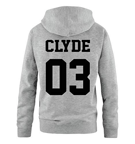 Comedy Shirts - Clyde 03 - Herren Hoodie - Grau/Schwarz - Gr. XL (Paare Crewneck-sweatshirts Für)