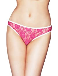 Womens Mio Sexy Pink Lace and White Bow& Trim Ladies Brief Thongs Panties