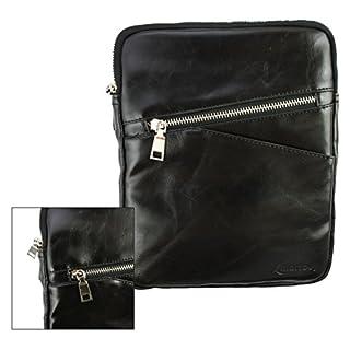 Emartbuy® Schwarz Crossbody Reisen Messenger Bag Tasche Hülle in Premium PU Leder mit gepolsterten Innenraum und Schulterriemen für geeignet Rixow Ultrathin 7 Zoll Tablet PC