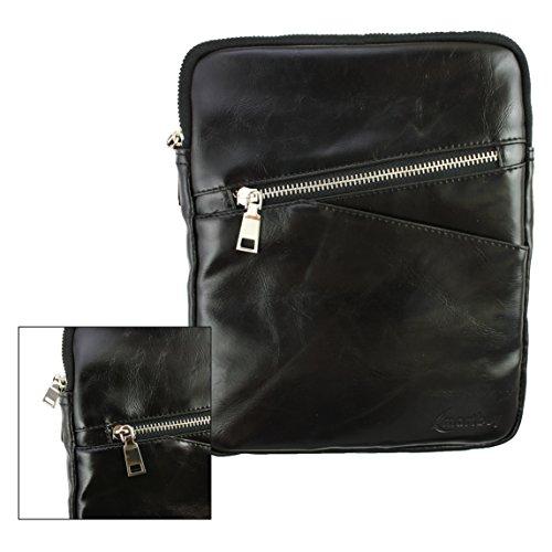 Emartbuy® Schwarz Crossbody Reisen Messenger Bag Tasche Hülle in Premium PU Leder mit gepolsterten Innenraum und Schulterriemen für geeignet Blaupunkt Polaris QC Tablet 7.85 Zoll