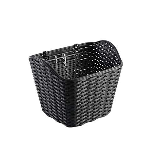Funihut - cestino per bicicletta in vimini, elettrico, pieghevole, cestino anteriore in plastica, con coperchio nero