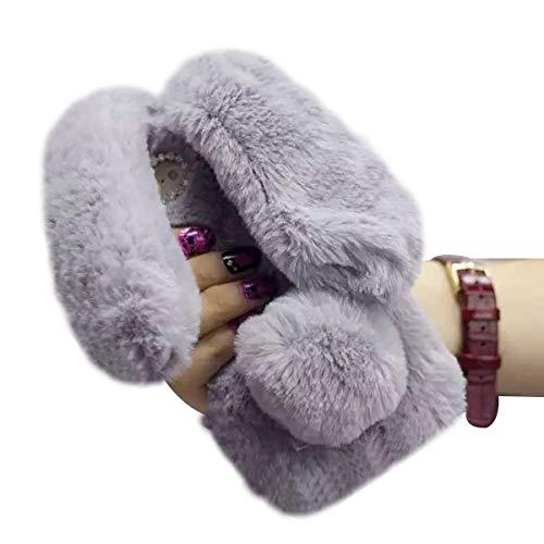 Ostop 3D Plüsch Hasenohren für iPhone 6S Plus Hülle,iPhone 6 Plus Hülle, Grau Flauschige Winter Warm Weich Pelz Abdeckung mit Glitzer Bling Strass,Niedlich Kaninchen Schwanz Ball Schutzhülle