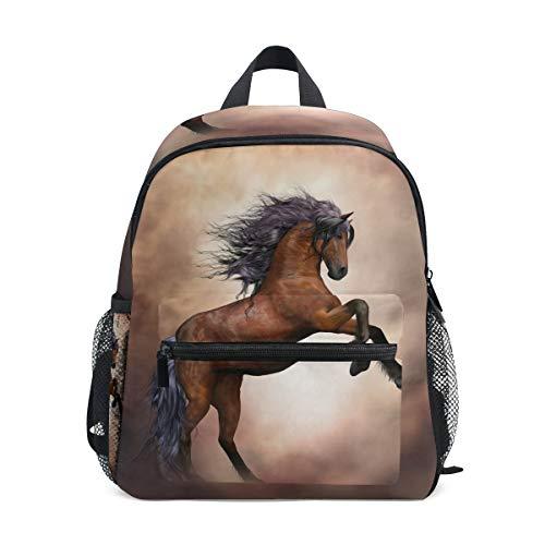 ISAOA Junge 3D braune Pferd Kinder Rucksäcke Kindergarten Vorschule Kleinkind jungen/Mädchen Schultasche niedlich Schultaschen