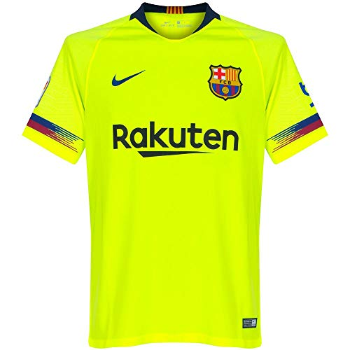 Nike FCB Y NK BRT STAD JSY SS AW T-Shirt, Unisex niños, Volt/Deep Royal Blue, L
