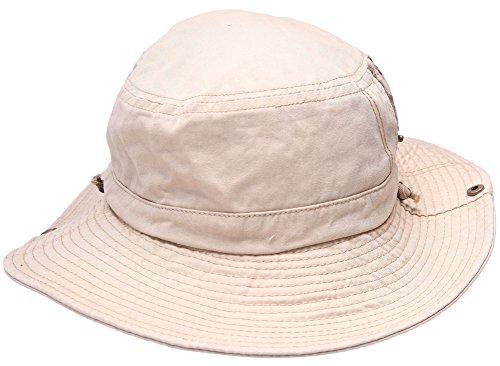 Hommes 100% Coton Chapeau de pêche avec cordes Boonie Bucket Pu Ceinture Chapeau Voyage Cap Outdoor Sun Hat Beige