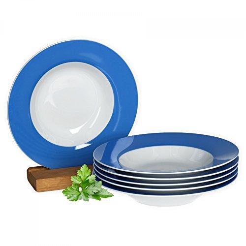 Van Well 6er Set Suppenteller Serie Vario Porzellan - Farbe wählbar, Farbe:blau -