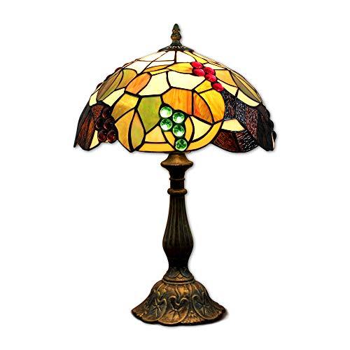 Hobaca® 12 pollici Uva in vetro colorato Tiffany comodino E27 per soggiorno...