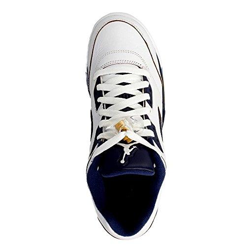 Air Jordan 5 Retro Low Junior Blanc 814338-135 White/Metallic Gold-Mid Navy