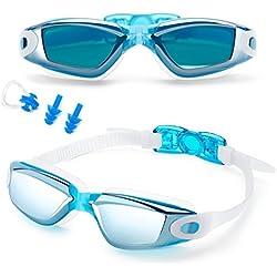 Feilan Gafas de natación,Gafas para Nadar Antiempañado y Anti Rayos UV para Hombres Mujeres Adultos Jóvenes Niños - Lo Mejor para Hombres, Mujeres, Niños - Azul Claro