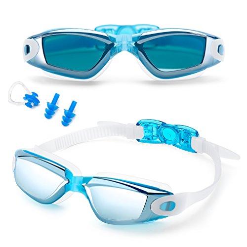 FEILAN Schwimmbrille Anti-Nebel UV-Schutz mit gratis Schutz Fall + Nase Clip + Ear Plugs - Hohe Qualität Swim Goggle für Erwachsene Kinder Herren Frauen und Kinder 10 +, hellblau