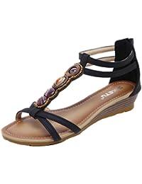 Sandale Damen Sommer mit Absatz Mumuj Frau Strass Pantoffeln Flach  Rutschfest Sandaletten Offene Zehe Keilabsatz Sommerschuhe 2fabb2c60f