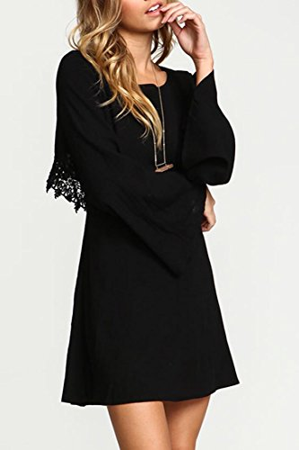 Azbro Charming Solid Lace Cut Out Back Mini Dress Black