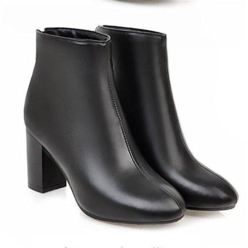 ZQ@QXIn autunno e inverno a testa circolare di spessore con scarpe con i tacchi alti moda, zipper e versatile stivali nudo, stivali Black