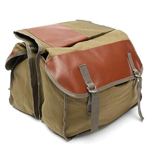 Allfuu Motorrad Satteltasche Motorradkoffer Motorrad Box Segeltuch Bags Werkzeugtasche 40 * 15 * 30cm (Khaki, 40 * 15 * 30cm)