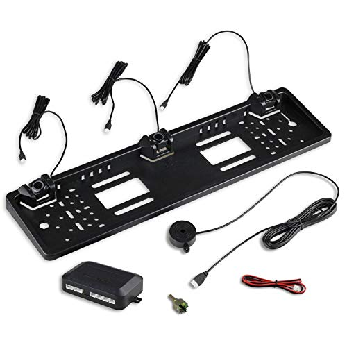 Kennzeichenhalter mit Einparkhilfe für hinten in schwarz - ideal zum Nachrüsten eines PDC Systems - mit Lautsprecher zur akustischen Warnung - 3 Sensoren variabel einstellbar