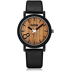 CUCOL Eco Faux Wooden Dial Watches for Men and Women Leather Band Casual Design Black Color