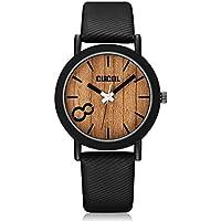 CUCOL in legno Eco Dail orologi da polso per uomo e donna, con cinturino in pelle, stile Casual, colore: nero