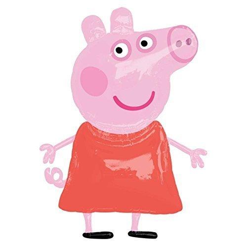 ANAGRAM Globo Gigante de 48 Pulgadas Peppa Pig Airwalker de Papel de Aluminio Helio Figura Rosa tamaño de la Vida Character Inflable cumpleaños Fiesta decoración