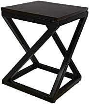JGS Solid Wooden & Iron Bedside End Night Stand Side Tables for Hall Living Room Bedroom (Bl