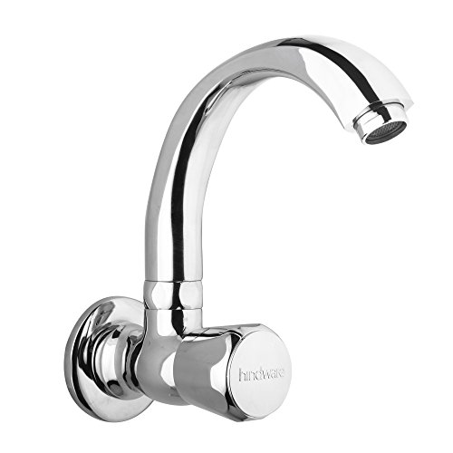 Hindware F330024CP Sink Cock with Swivel Casted Spout (Wall Mounted) (Contessa Plus) with Chrome Finish