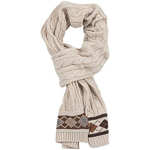 MEICHEN-Bufanda mujer otoño/invierno del hombre bufanda de lana gruesa, blanco