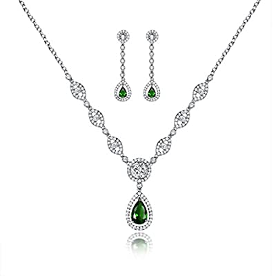 GULICX AAA Cubic Zirconia CZ Women's Party Jewelry Set Fashion Earrings Pendant Necklace Silver Plated by Gelei Jewelry Co., Ltd.
