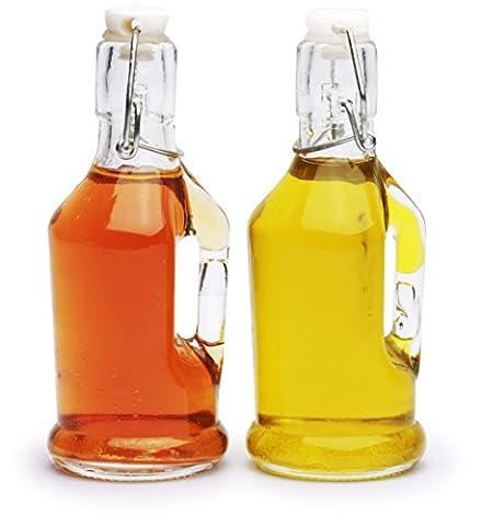 Circleware vintage Mini d'huile d'olive et vinaigre Verre Distributeur de bouteilles avec poignées et couvercle de fermeture hermétique en verre, 198,4gram chaque, édition limitée Verrerie Service