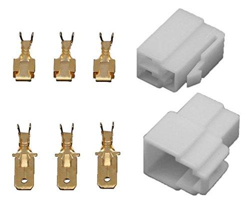 10x Gehäuse Stecker 6,3mm Flachsteckhülsen Flachstecker Steckergehäuse (3 Polig)