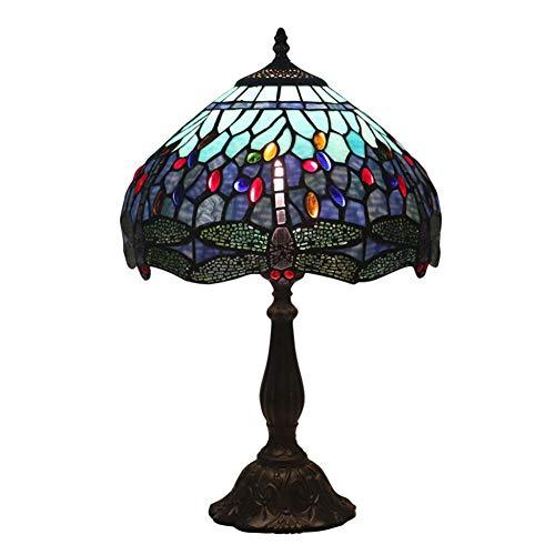 Handgefertigt Gebeizt (YVQO Glasschirm handgefertigt antik gebeizt Tiffany Stil Tischlampen für Innenbeleuchtung Wohnzimmer Büro)