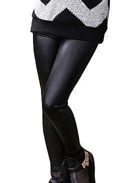 Niña Leggins Pu Cuero Artificial Leggings Cintura Elástica Pantalones De Lápiz Jeggings Negro 130CM