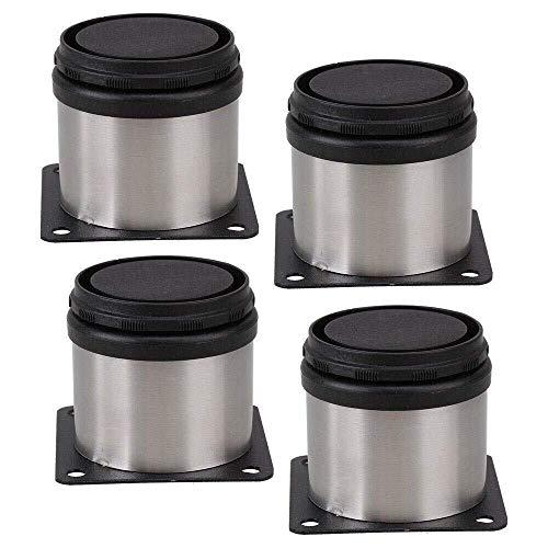 Piedini regolabili per mobili, in acciaio inox, 50 mm x 50 mm, confezione da 4, nero e argento