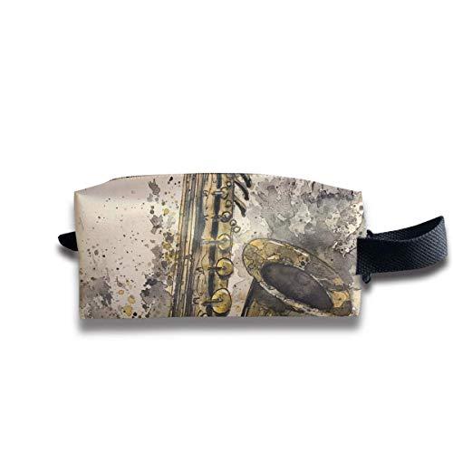 Art Music Jazz Saxophone Makeup Bag Hand Bag Travel Bag Jazz Zip