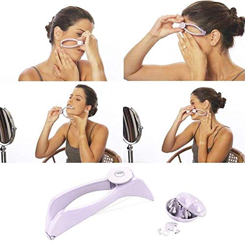 Forcado Eyebrow Face and Body Hair Threading and Removal System, tweezers for eyebrows, threading tool, threading machine for women, threading epilators for women (Purple)