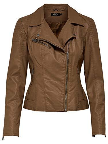 ONLY Damen Kunstleder Jacke onlFLORA Faux Leather Biker, Größe:42, Farbe:Braun