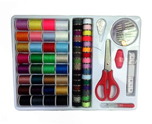 Isoto Kit de herramientas de costura 100 en 1 surtido de hilos de costura con bobinas de bobina, kit de costura, accesorios para máquina de coser básica, emergencia y viaje