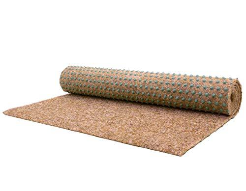 Premium Rasenteppich für Balkon Meterware GREEN - Beige, 2,00m x 4,00m Vlies-Rasenteppich mit Noppen, Balkon Bodenbelag, Outdoor Teppich