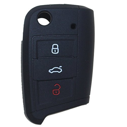 tuqiang® 1X NERO AUTO CHIAVE PER For VW Golf 7MK7Nuovo Polo Custodia in silicone gomma 3tasti telecomando chiave portachiavi Cover
