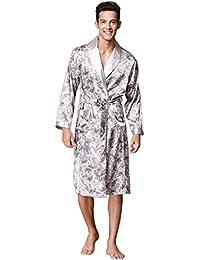 DFGHGXCNB de los Hombres Primavera y otoño Mangas largas Bata de Noche Masculino Bata de baño Seda Pijama Hombres Batas de…
