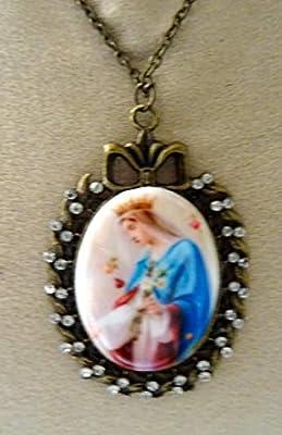 pendentif sautoir camée Vierge Marie