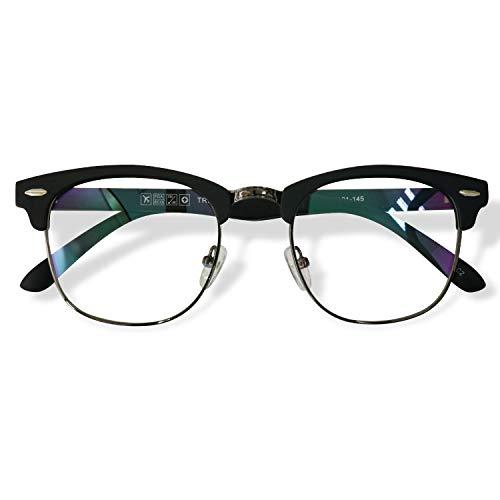 KOOSUFA 50er Jahre Retro Brille ohne Sehstärke Halbrahmen Hornbrille Damen Herren Nerd Brille Brillengestelle Streberbrille Deko Brille Vintage TR90 Brillenfassung mit Etui (Matt schwarz)