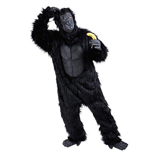 Charm Rainbow Deluxe Affen Kostüm Erwachsene Schwarz Gorilla Kostüm für Party, Fasching, Halloween, Schimpanse Ganzkörperanzug mit Maske Händen und Füßen 2 Gr. Standard and Plus