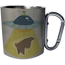 OVNI secuestrando un oso Taza de viaje mosquetón de acero inoxidable 11oz w392c