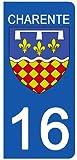 DECO-IDEES Set 2Aufkleber für Nummernschild–16–Wappen Charente–Region Neue Aquitaine
