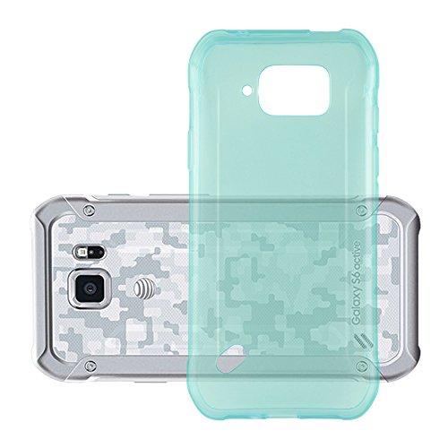 Cadorabo Hülle für Samsung Galaxy S6 Active - Hülle in TRANSPARENT BLAU – Handyhülle aus TPU Silikon im Ultra Slim 'AIR' Design - Silikonhülle Schutzhülle Soft Back Cover Case Bumper