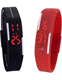 ROKCY Rubber Red And White Led Magnet Band (pack Of 2) Red And White Digital Watch - For Boys & Girls