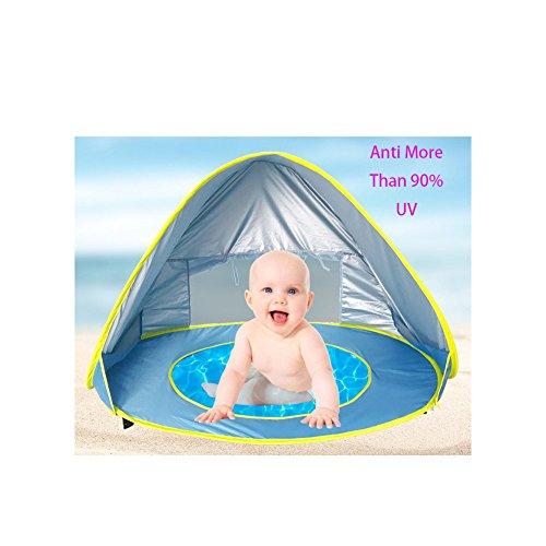 Tienda de Playa para Bebés,Pop-up Parasol de Playa con Pequeña Piscina Tienda de Playa Portátil Protección Solar Anti UV para Vacaciones en la Playa Juegos de juegos de césped / Parques interiores y exteriores