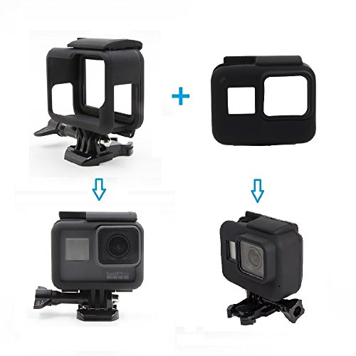 Especificaciones:  Marca: TELESIN  Adecuada para: GoPro HERO 6/5 Negro  Color: Negro   Paquete incluido: 1 x Funda protectora de silicona para carcasa de marco  1 x Carcasa de montaje en marco para GoPro Hero6 / 5 negro  1 x tornillo  1 x montaje de ...