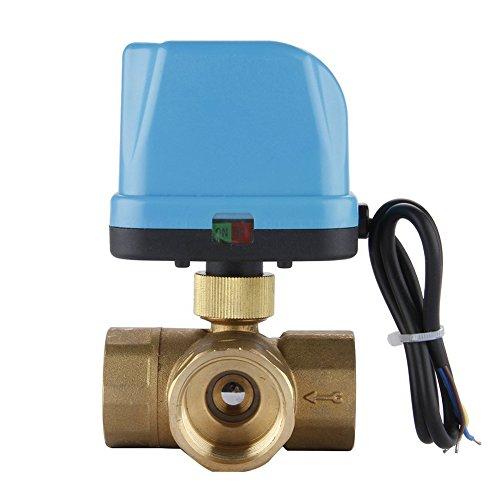 Preisvergleich Produktbild TOOGOO(R) DN25 (G1.0 Zoll) 3-Wege 220V Zonenventil Elektro Ventil Kugelventil Dreiwegeventil Motorkugelhahn Umschaltventil mit LED Lampe